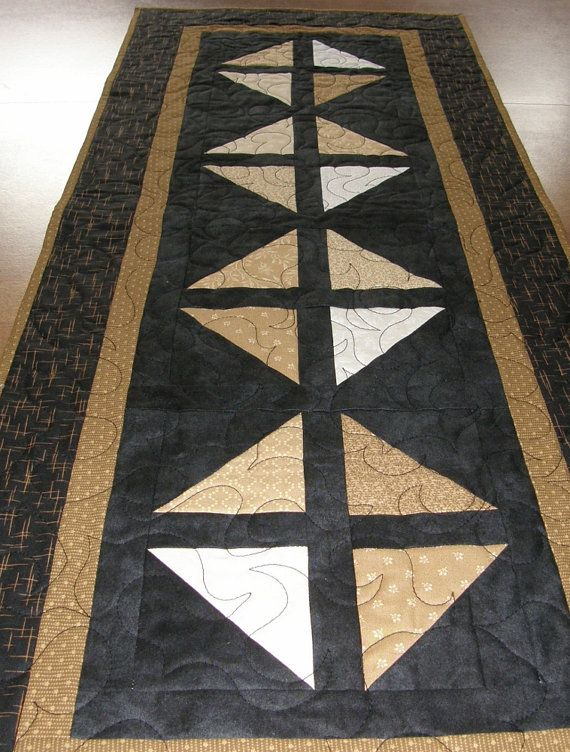 Quilted Table Runner Black Taupe Cream Gold Table By Hollyshutch