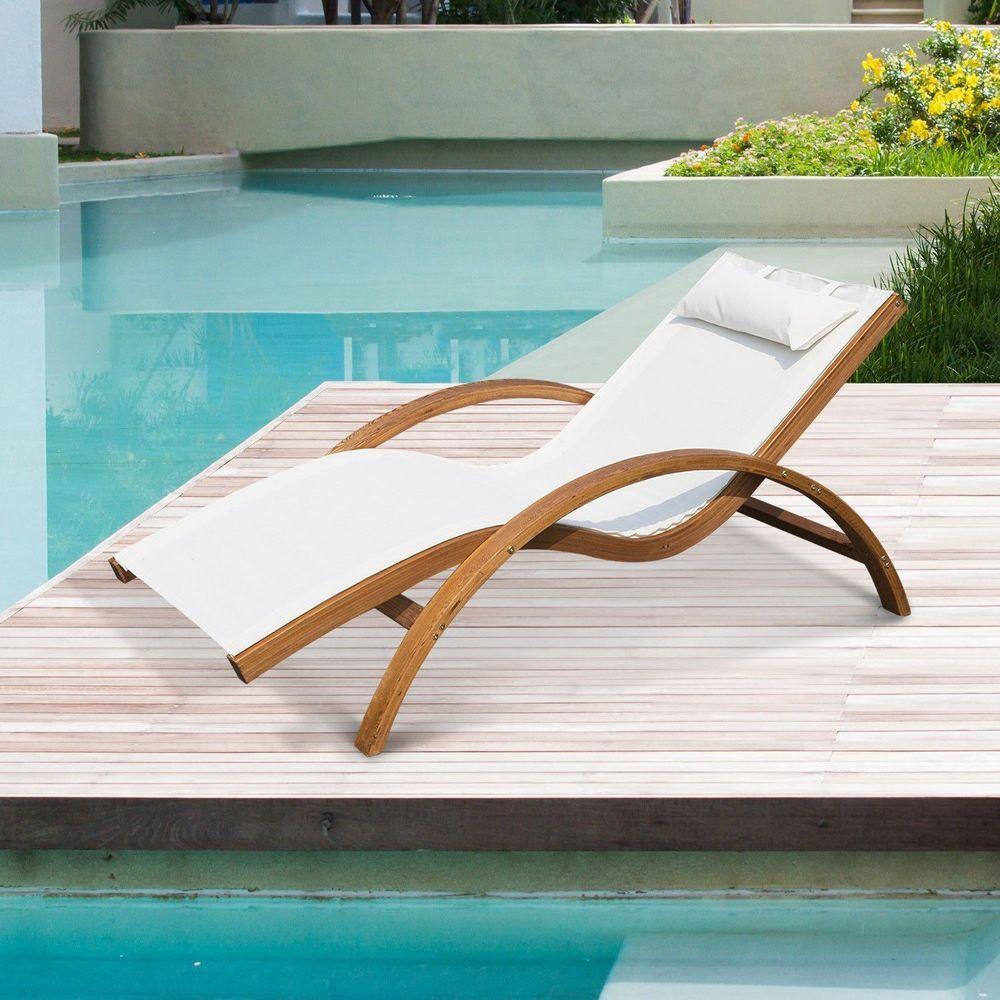 Outdoor Chaise Lounge Chair Cream Cushion Wooden Frame
