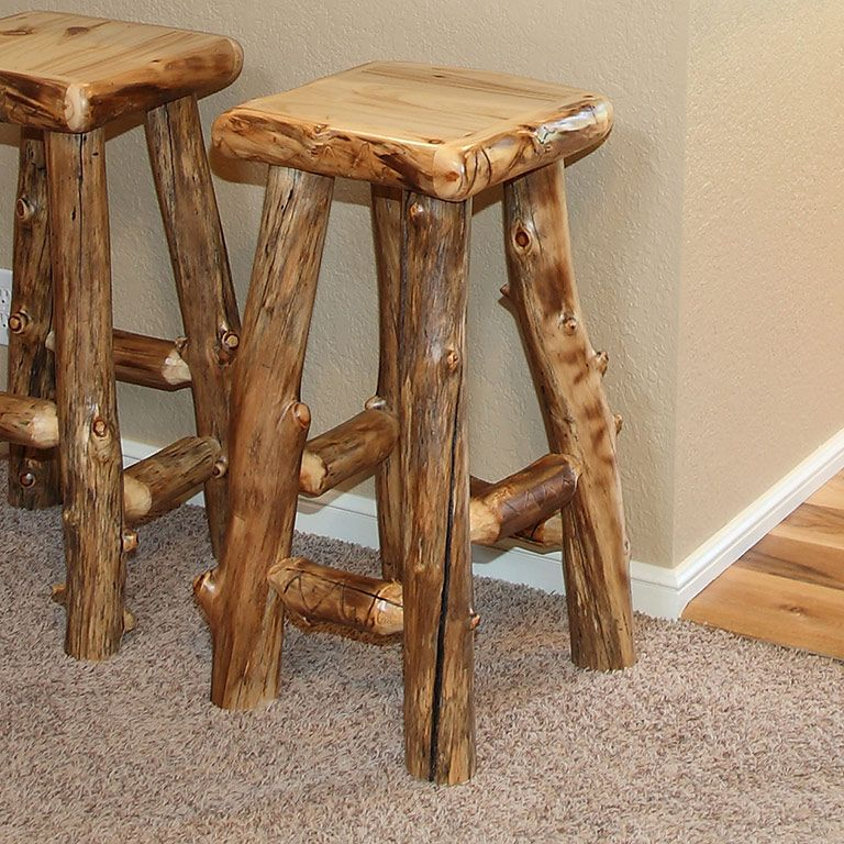 montana stool log glacier pin country back stools bar w logfurniture woodworks