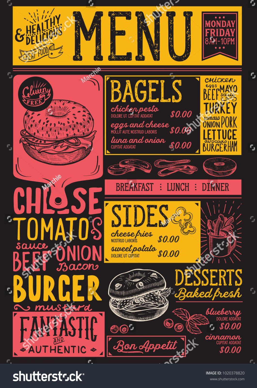 Bagels Restaurant Menu Vector Sandwich Food Flyer For Bar And Cafe Design Template With Vintage Hand Dra In 2020 Menu Restaurant Bbq Menu Design Catering Menu Design