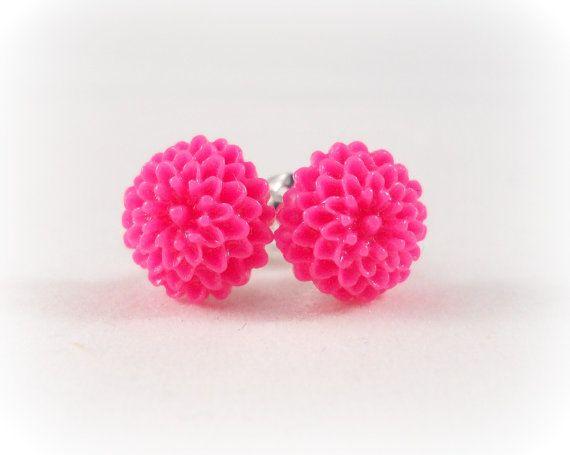 Hot Pink Earrings Flower Jewelry Surgical Steel Posts By Foreverandrea Gift Ideas For Tween S Stocking Stuffers Sensitive Ears
