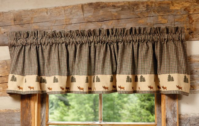 Northern Moose Plaid Valance Rustic Window Treatments Cabin Curtains Rustic Valances
