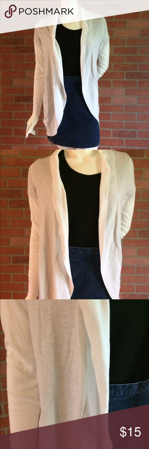 White Cardigan Thin Open Front Spring Summer EUC | White cardigan ...