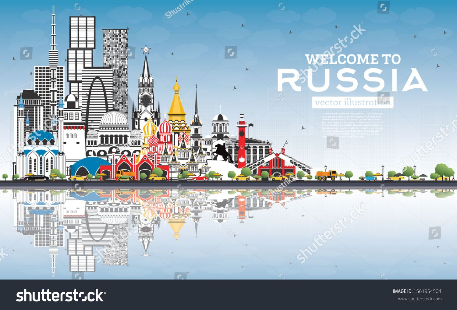 Welcome to Russia Skyline with Gray Buildings and Blue Sky. Vector Illustration. Tourism Concept wi