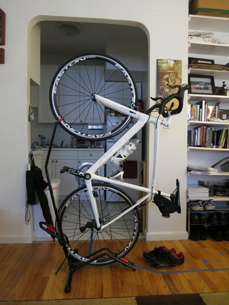 Look jeremy s bicycle rack apartment therapy - A No Drilling Free Standing Vertical Bike Stand Perfect For Small Living