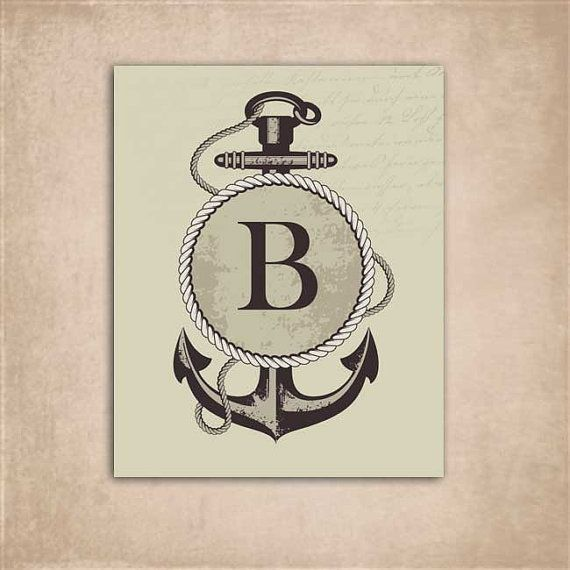 Nautical Anchor Wall Art  Initial Letter B by BlueDolphinCreative, $5.00