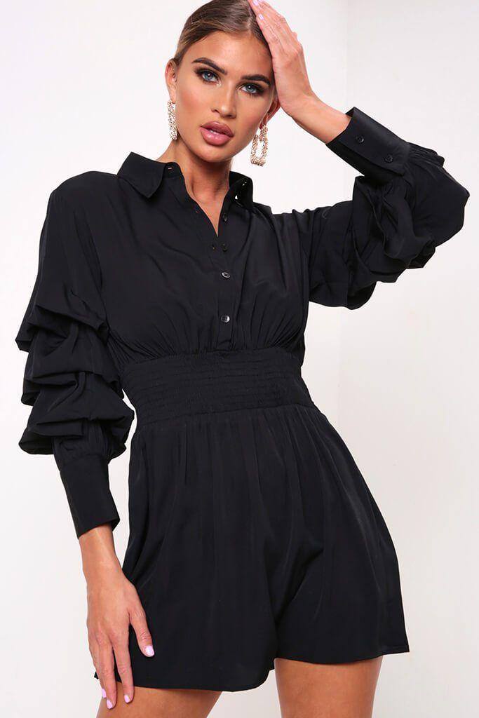 58d216c3512 Black Ruffle Sleeve Ruched Waist Shirt Dress – I SAW IT FIRST