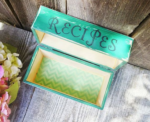 Green SHABBY CHIC Wood Recipe Box -  Emerald Green 5 x 7 Painted Recipe box - Stamped with RECIPES on front