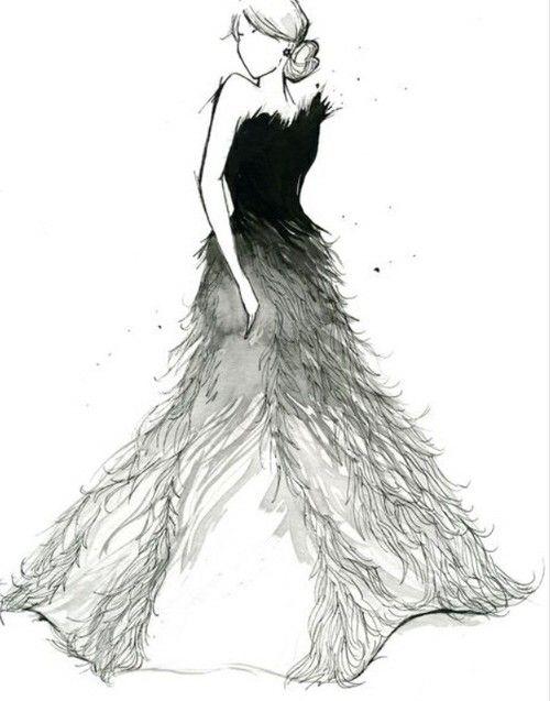 Long Black White Dress Sketch Fashion Art Watercolor Fashion Fashion Illustration Watercolor