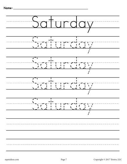 7 FREE Days of the Week Handwriting Worksheets! Handwriting - free lined handwriting paper