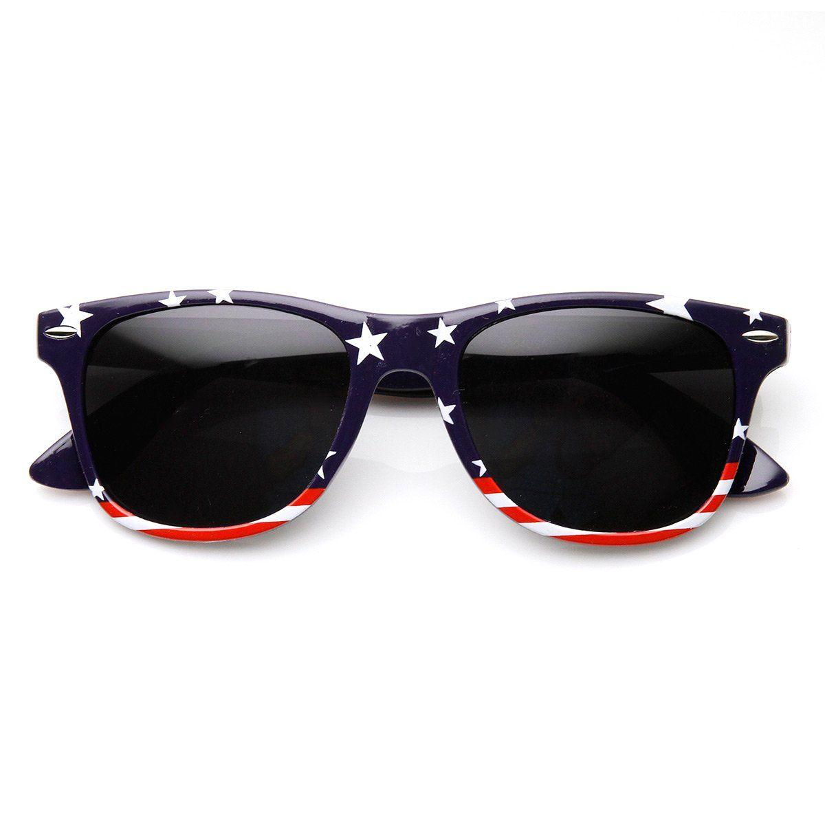 9383cc5af0d U.S. American Flag USA Stars and Stripes Horn Rimmed Sunglasses ...