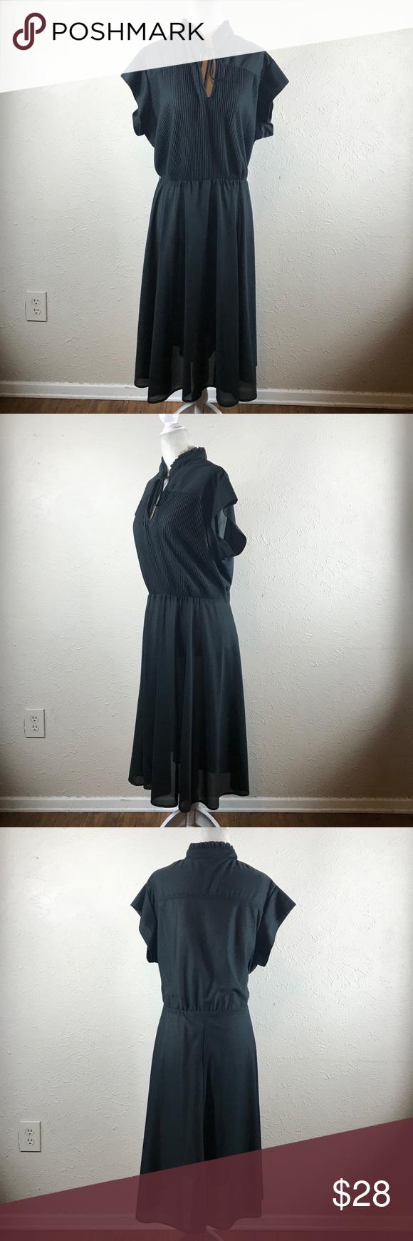 Vintage 70s Black Secretary Dress L Secretary Dress Vintage Dresses Clothes Design [ 1740 x 580 Pixel ]