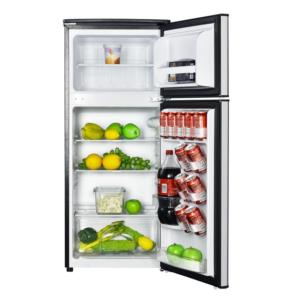 Magic Chef 4 5 Cu Ft 2 Door Mini Fridge In Stainless Look With Freezer Hmdr450se The Home Depot Mini Fridge Mini Fridge With Freezer Magic Chef
