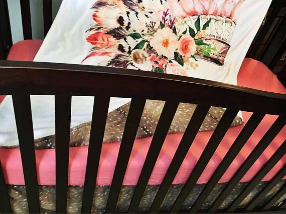 Coral Headdress and Deer Hide Bedding Set//3 Piece Crib Bedding Set ...