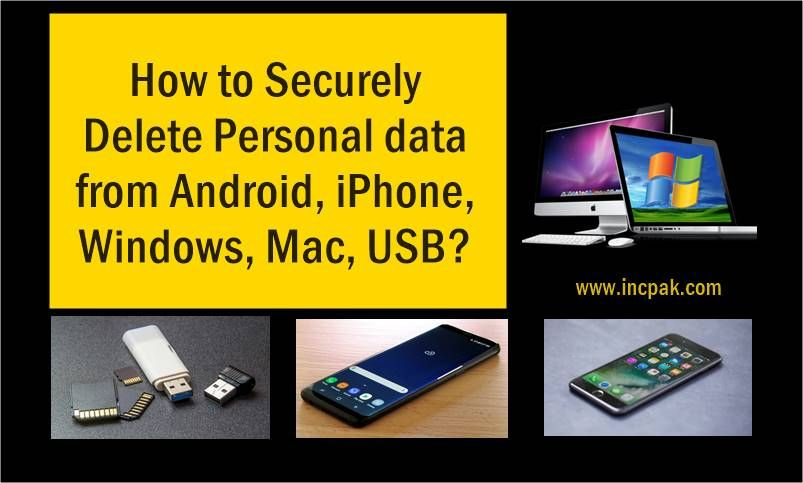 How to securely delete data from android iphone usb