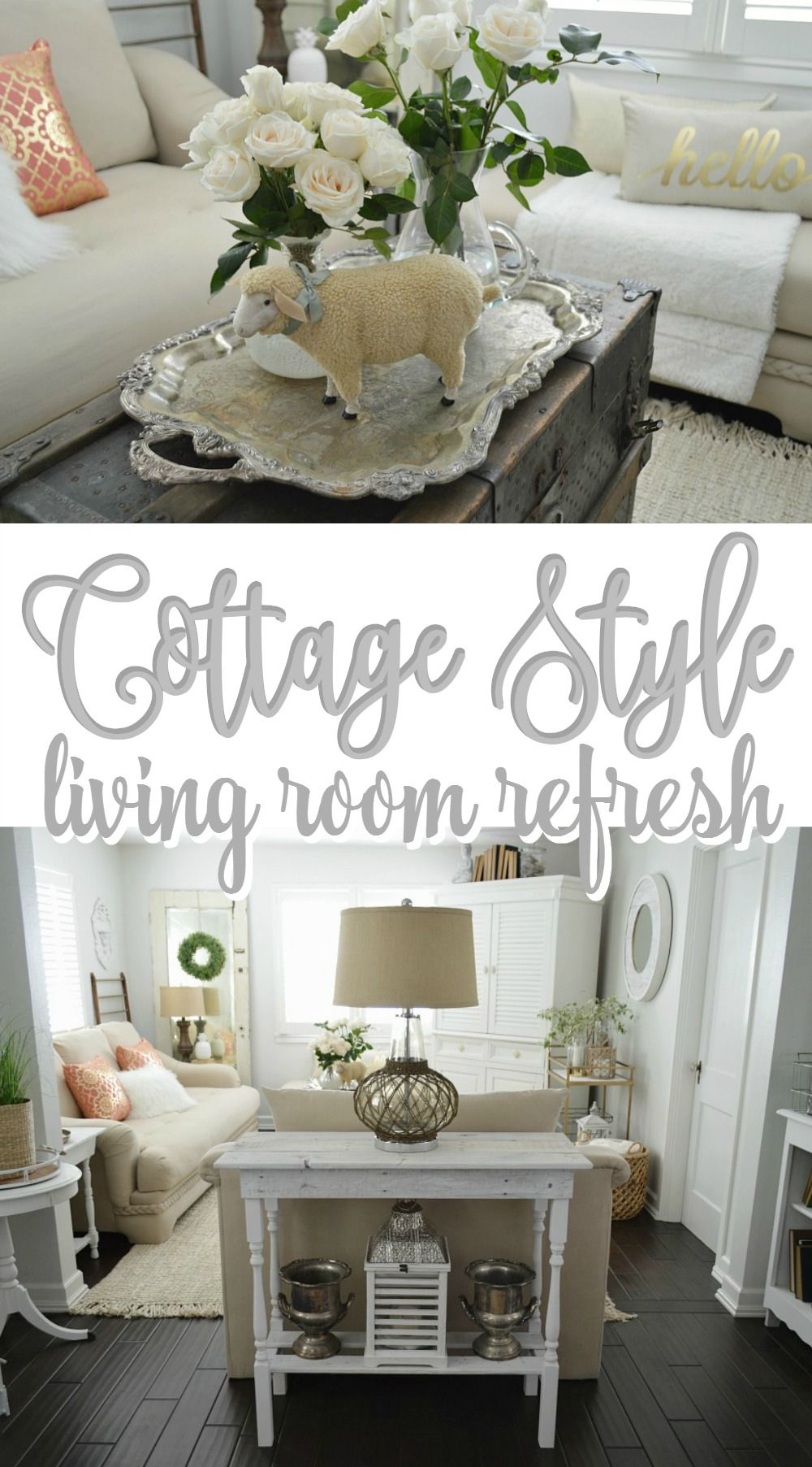 Cottage Style Living Room Refresh At Foxhollowcottage.com   White Room With  Plantation Shutters,