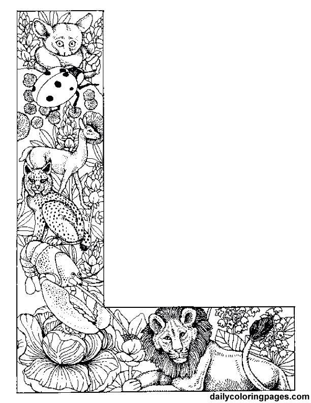 L Doodle Alphabet Coloring Pages Alphabet Coloring Lettering