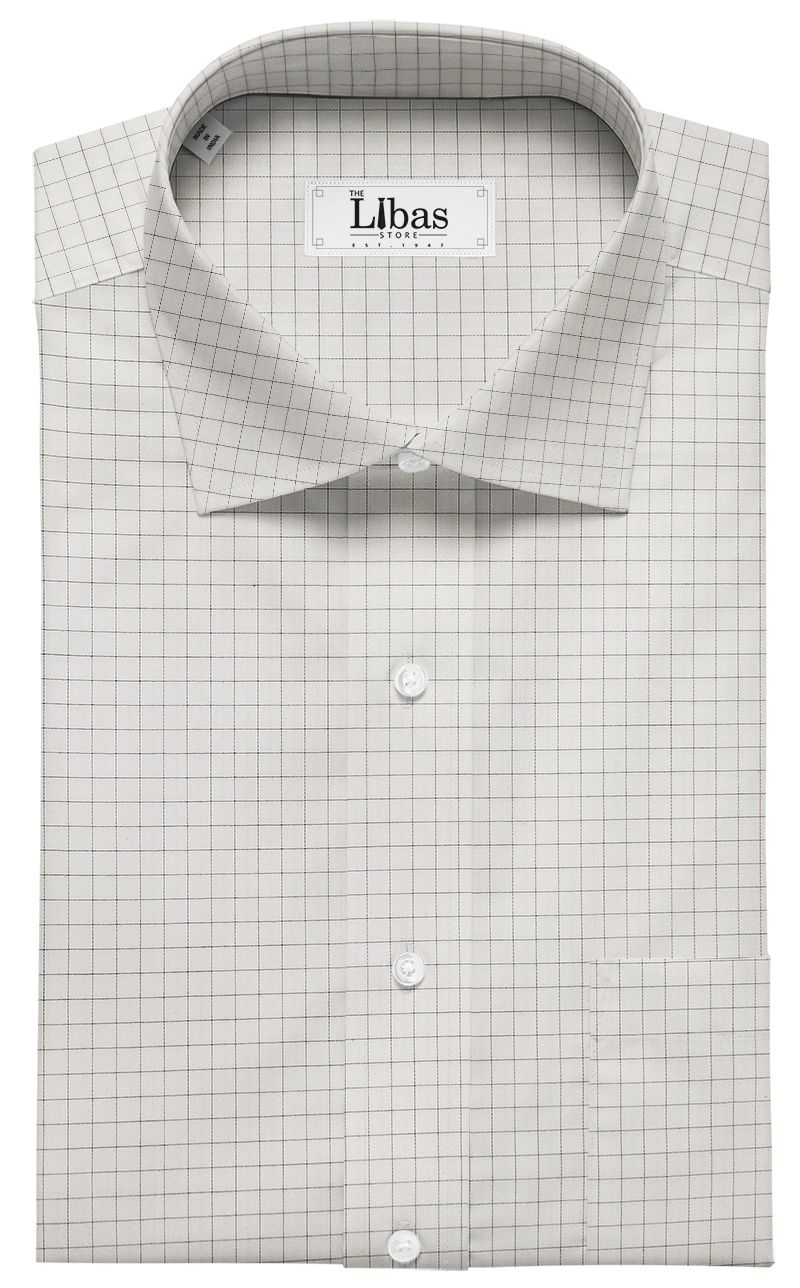 20ac4aec Tessitura Monti Men's Pure White 100% Giza Cotton Black Checks Shirt Fabric  (1.60 M