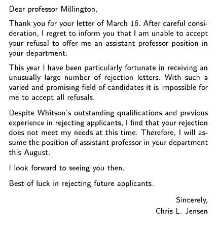 Rejection Letter Rejection  Wish ID Wrote     Funny