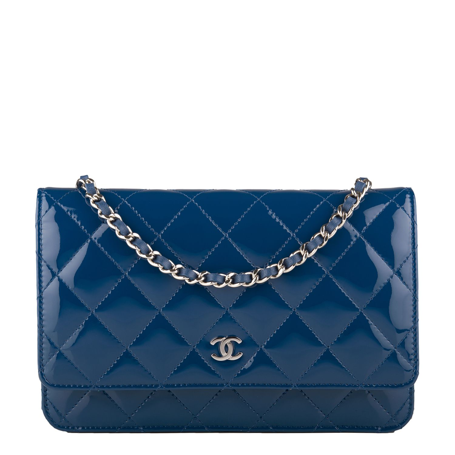 f297aa54fc41b8 #Chanel Dark Blue Quilted Patent Classic #Wallet On Chain (WOC) #Clutch #Bag