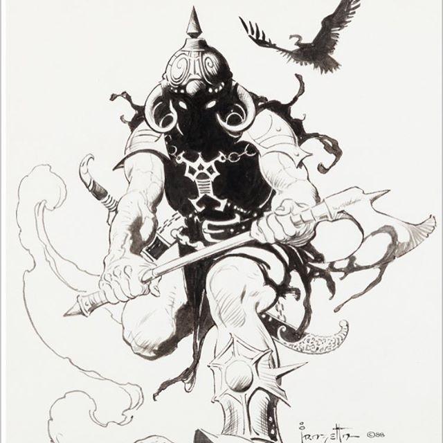 #FrankFrazetta #FrazettaFriday Death Dealer Pen and Ink Sketch •1988• ••••••••••••••••••••••••••••••••••••••••••••••••••••••••••••• #Frazetta #HeavyMetal #Pen