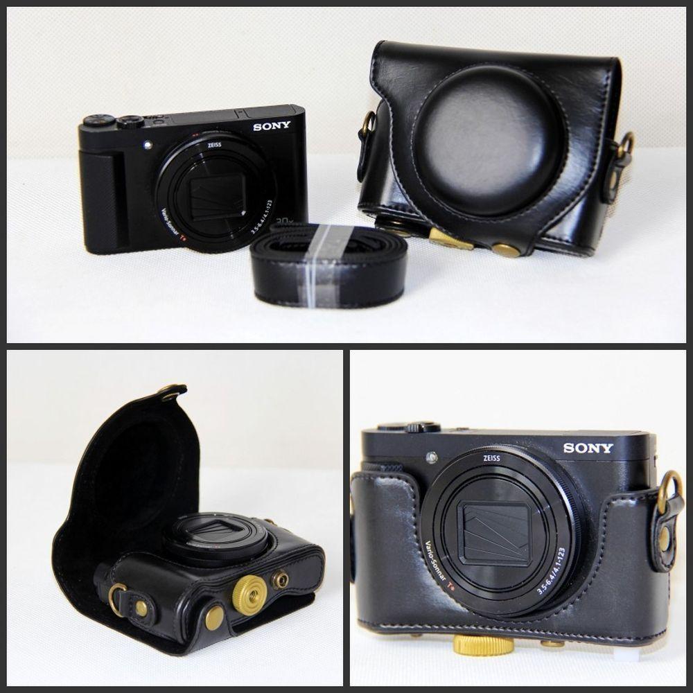 Black Leather Camera Case Bag For Sony Cybershot Dsc Hx90v Hx90 Wx500 New Ebay Med Bilder