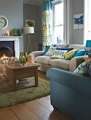 Livingroom Greige Walls Blue And Green Accents Google Search