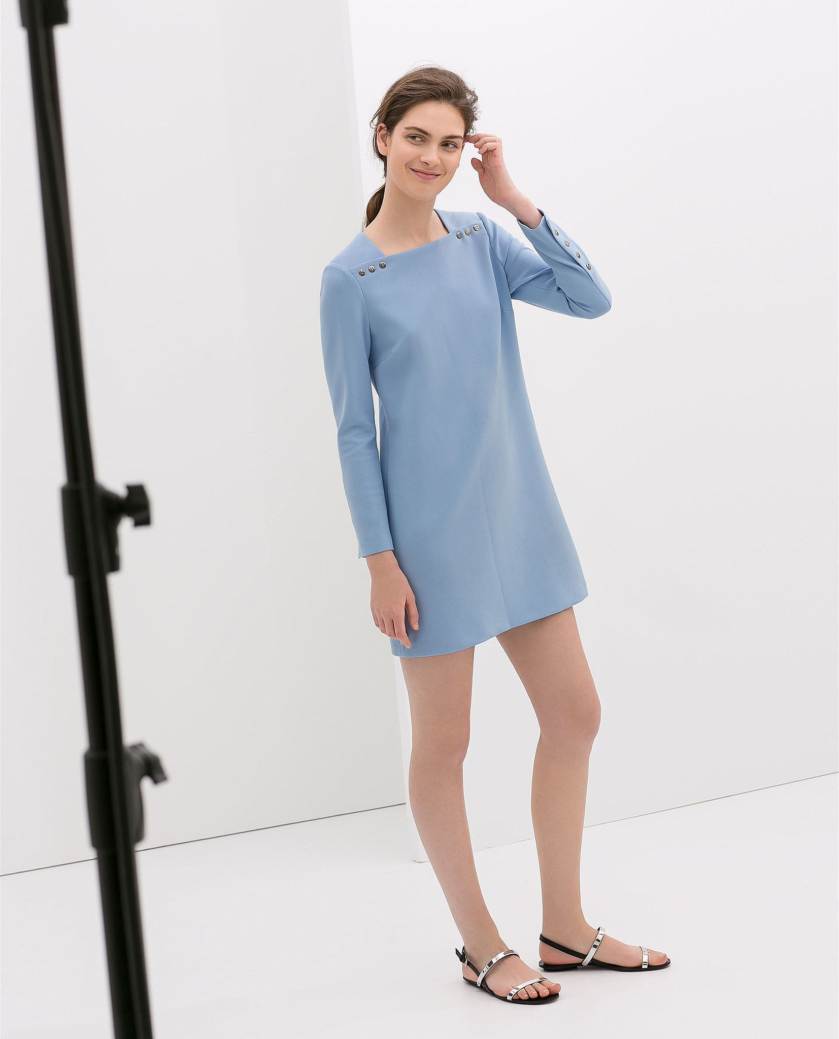 Zara Long Sleeve Blue Dress With Buttons $100