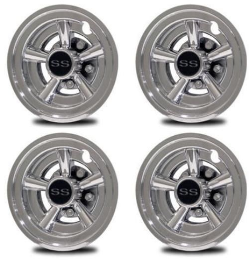 Set of 4 Universal Cragar Golf Cart Hub Cap Wheel Cover 8