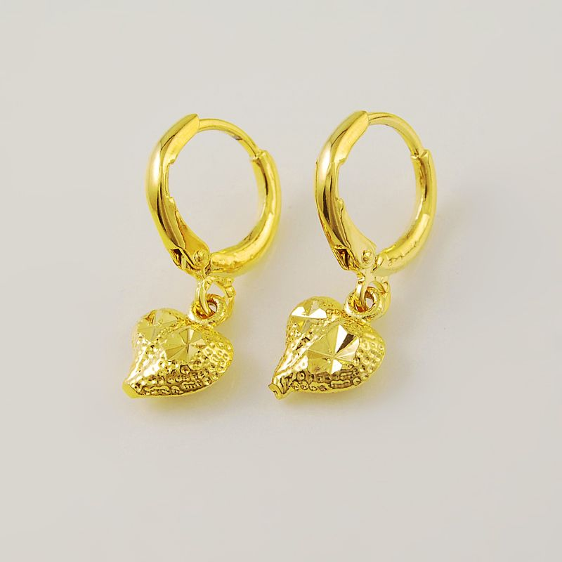 2015 New Design High Quality 24K Yellow Gold Colou Heart Dangle Drop ...