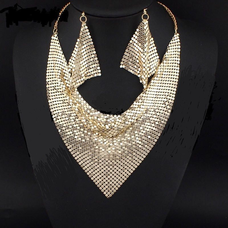 Jewelry Set Chic Style Shining Metal Necklaces with Earrings