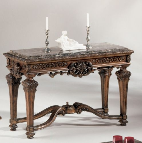 Traditional Brown Marble Sofa Table Old World Style Living Room Accent Furniture Accent Furniture Living Room Furniture Console And Sofa Tables
