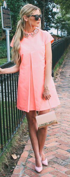 HUMPhooks.com Coral one pleat mini dress with rhinestones collar, golden crocodile bag, pink heels.