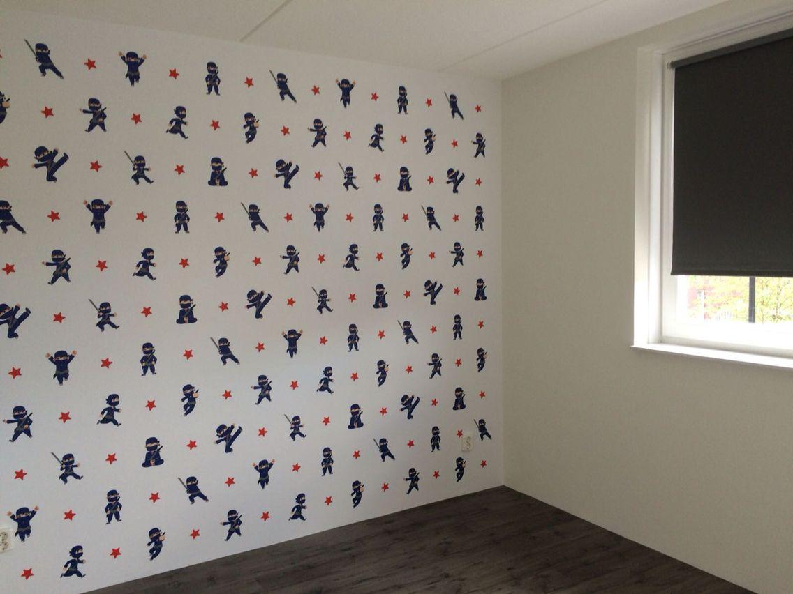 Behang Kinderkamer Grijs : Behang ninja ninjago blauwe ninja jongenskamer kinderkamer stoere