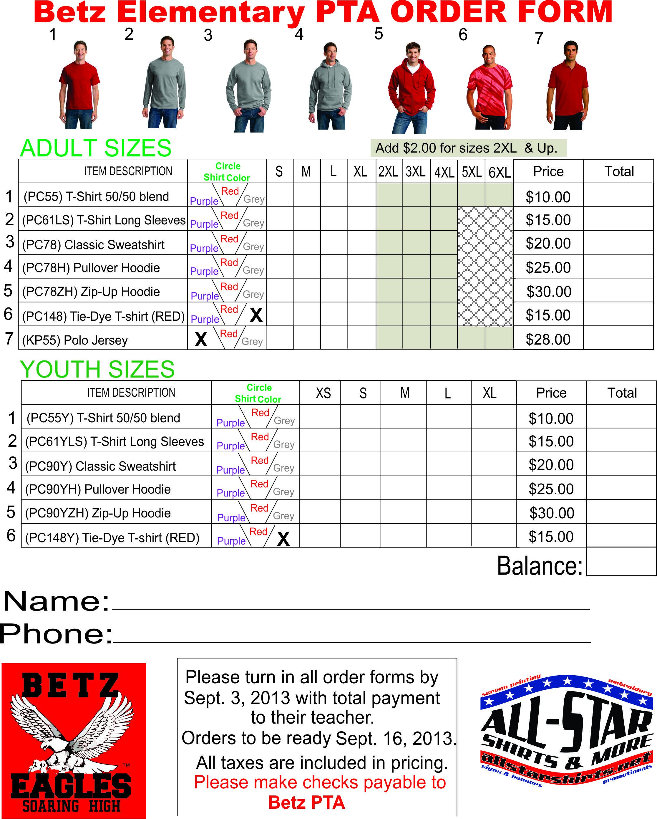 Image Result For Spirit Wear Order Form Editable Spirit