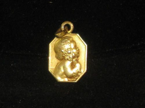 SWEET Vintage French Gold Filled? CHERUB CHILD FLOWERS PENDANT CHARM MEDAL/$44
