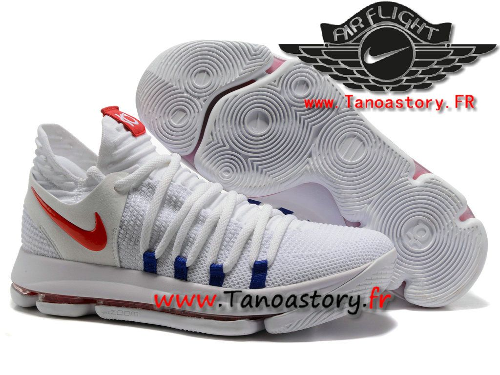 super popular bf08d 2b49d Chaussures Homme Nike Zoom KD 10 EP Officiel Basket Pas Cher Blanc Rouge