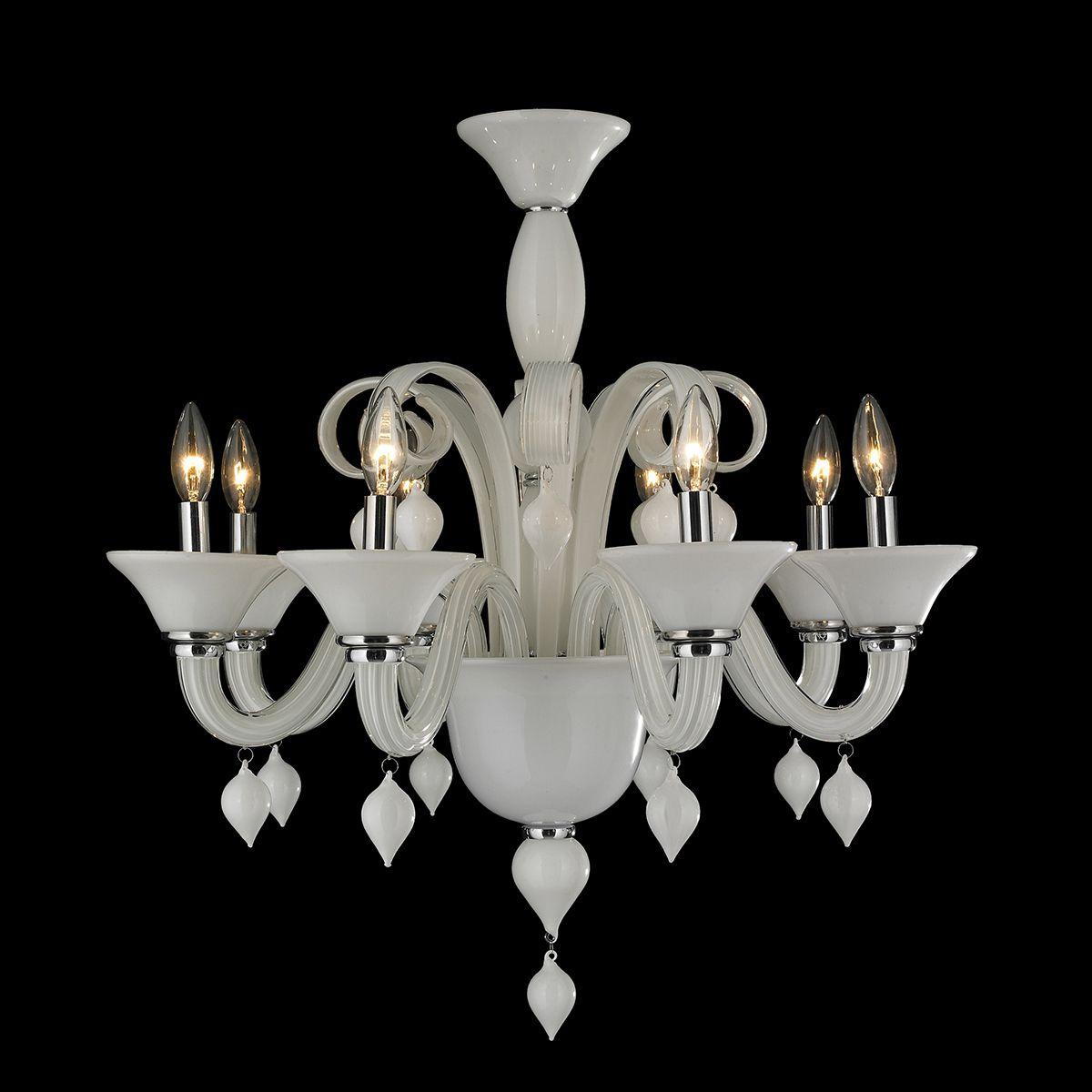 Hinkley Lighting Odette: Murano Venetian Style 8 Light Blown Glass In White Finish