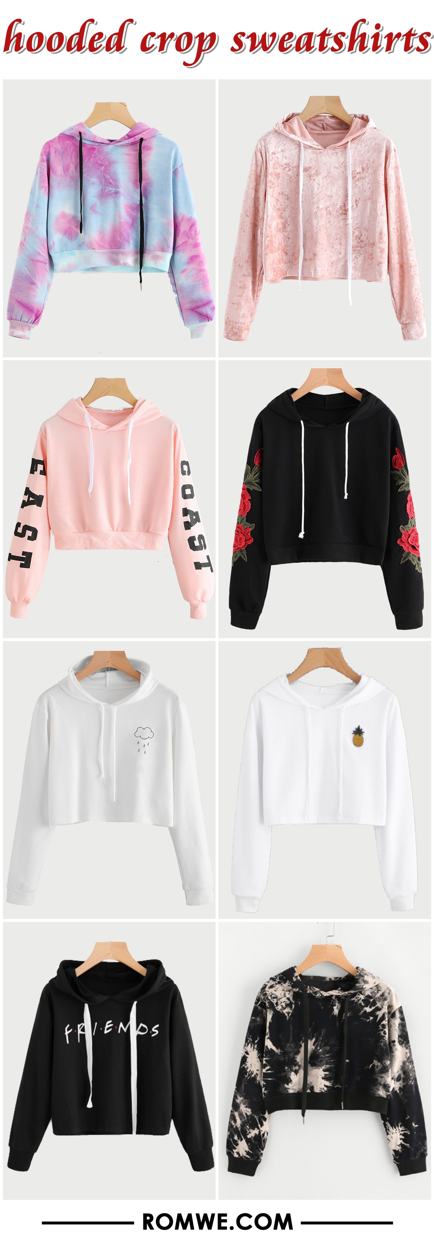 547121454539 hooded crop sweatshirts 2017 - romwe.com