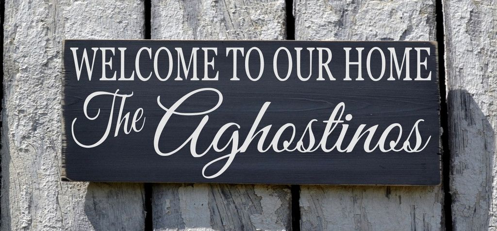 Personalized Family Signs Welcome To Our Home Sign 24x12 Rustic Outdoor Wood Signs Gift Porch Christmas Signs Wood Personalized Wood Signs Custom Wooden Signs