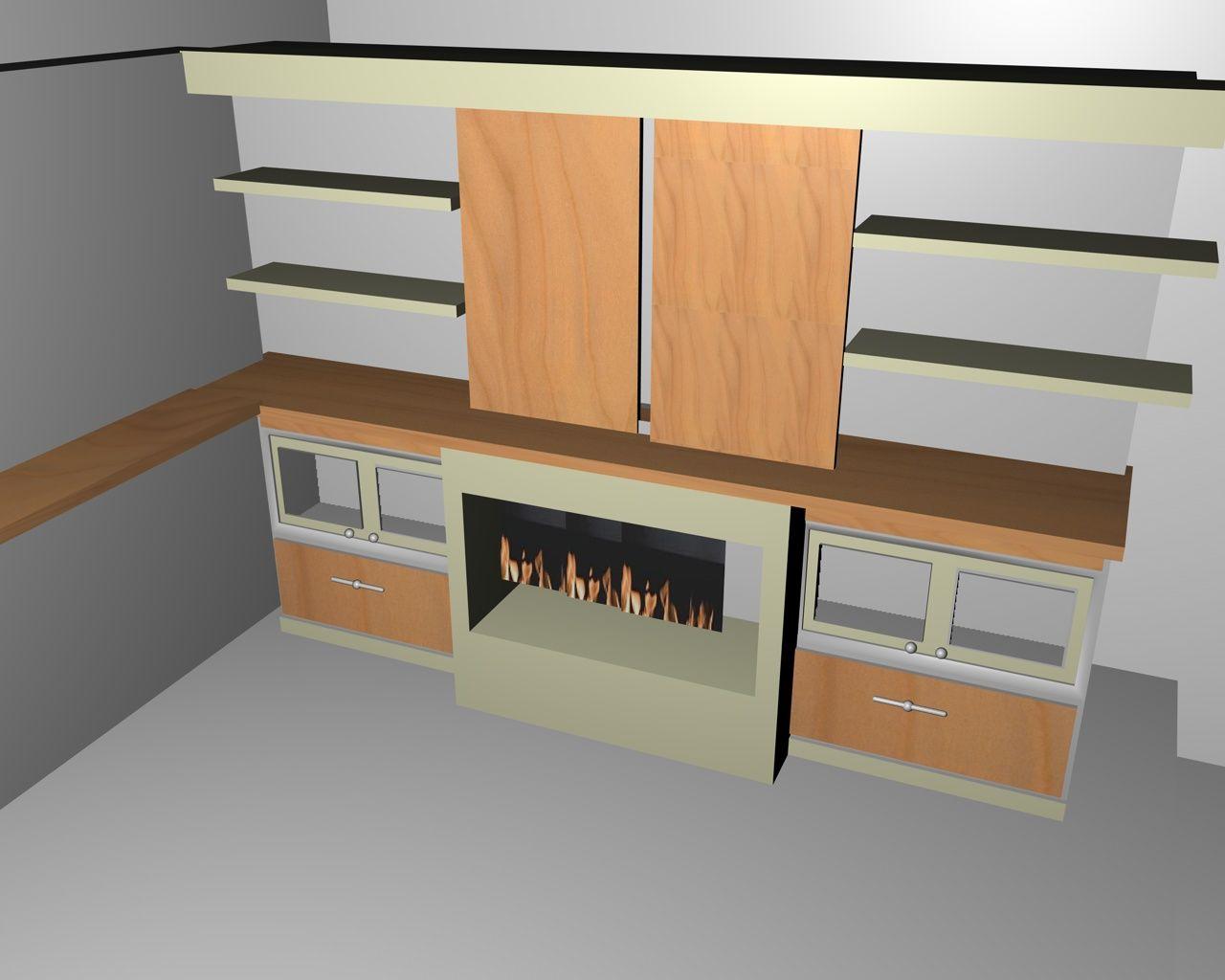 Mueble con chimenea interior para tv decoracion - Chimenea electrica mueble ...