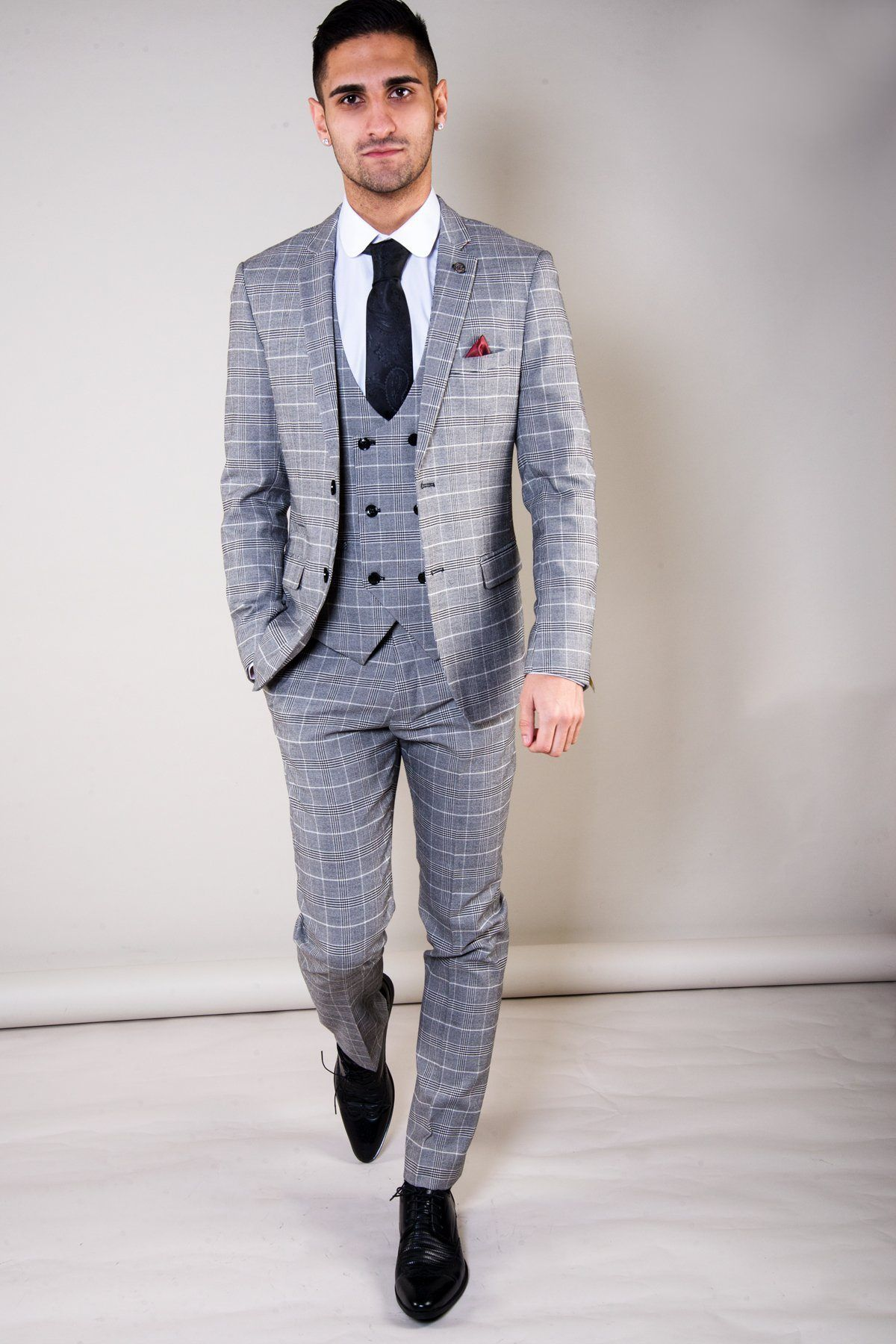 ROSS , Grey Check Three Piece Suit , Marc Darcy