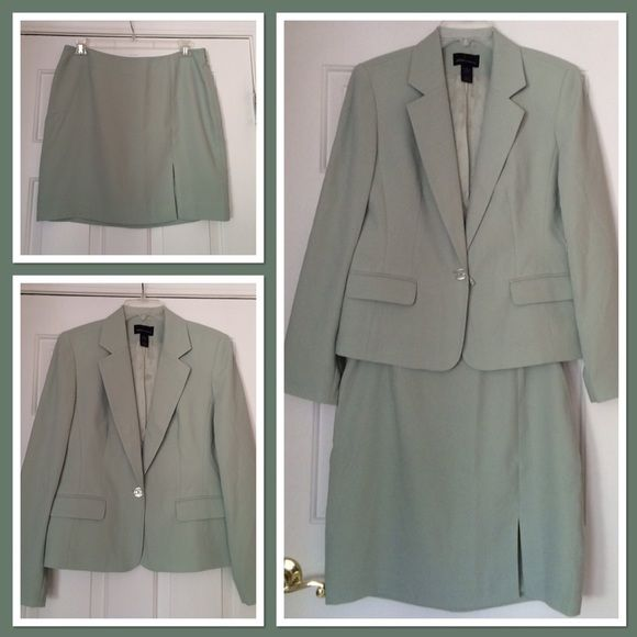 """Moda Int'l Suit Mint green jacket and skirt, lined.  Skirt has side zip with front slit.  Never worn, has extra button tag attached.  Skirt is 18.5"""" long. Moda International Skirts Skirt Sets"""