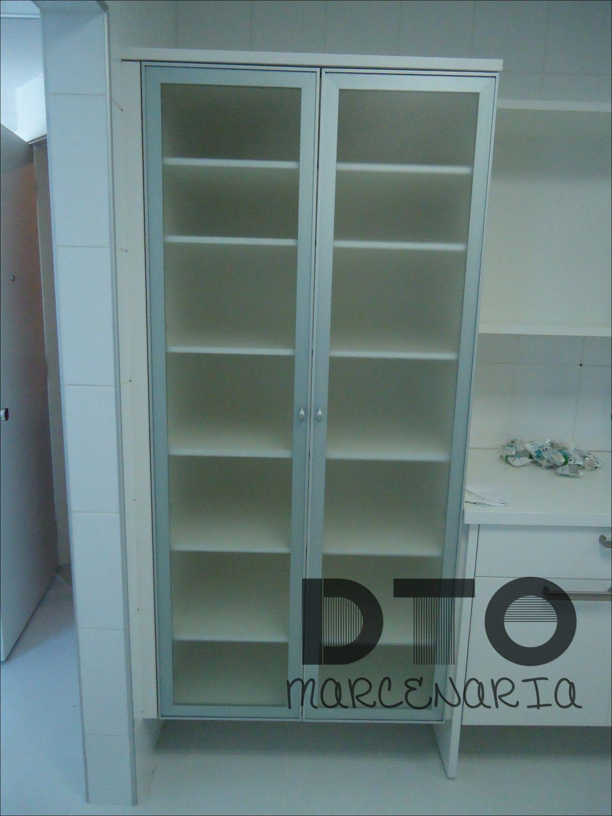 Armario Da Cozinha Interno Em Mdf Branco Portas Em Aluminio Com