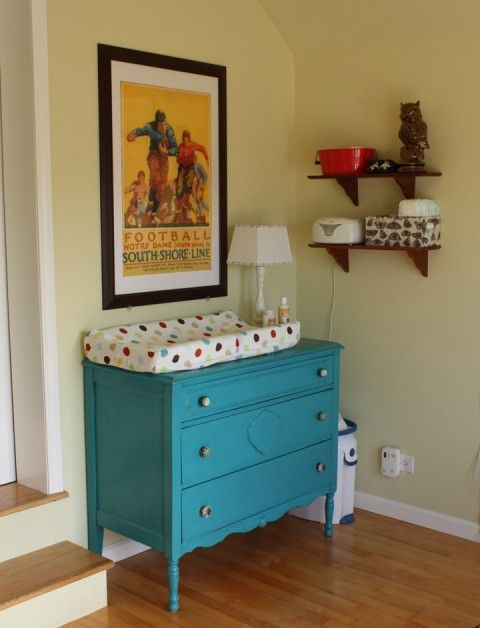 This. This will be my changing table. Who wants to go antiquing/garage saling with me to find an old dresser to paint?!?