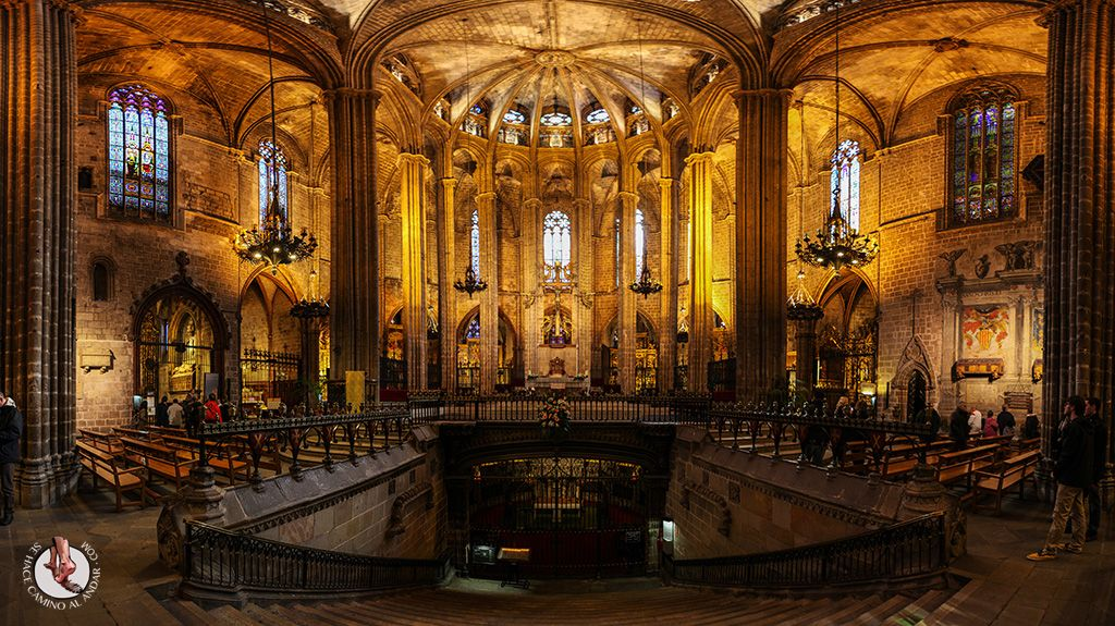 Panorámica Interior Catedral De Barcelona Barcelona Catedral