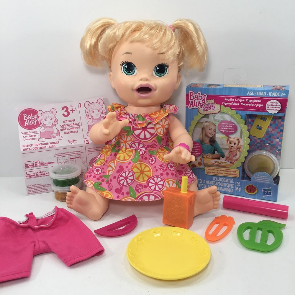 Baby Alive Super Snacks Snackin Sara Blonde With New In