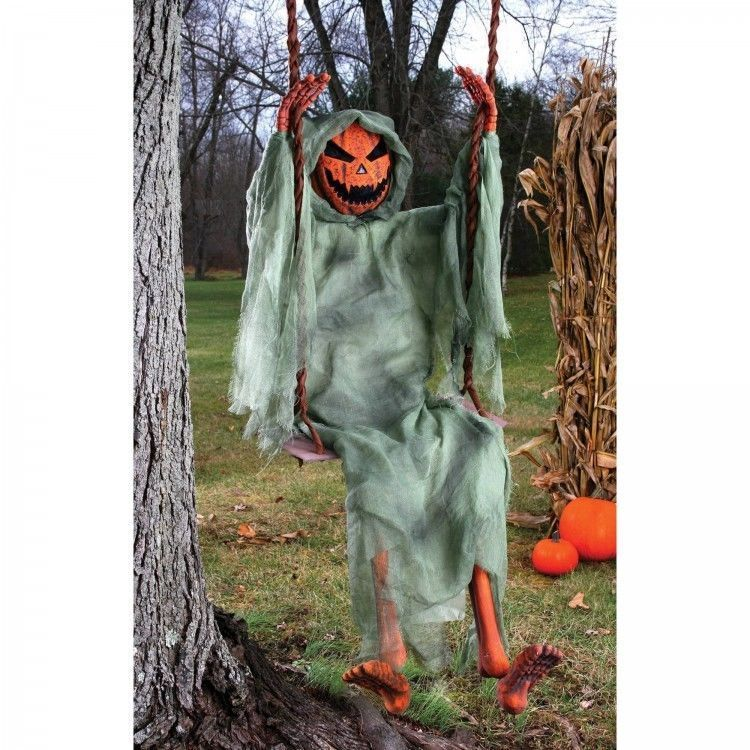 Scary Halloween Decorations Outdoor Props Pumpkin Ghost Swing Garden