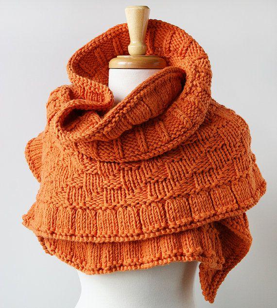 Rococo Knit Shawl / Wrap - Pumpkin Orange - Merino Wool ...