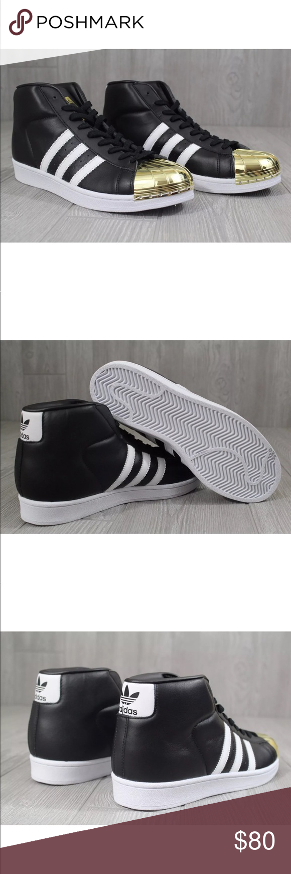 154af05f128473 Adidas Pro Model Gold Toe Black White Gold Shell Adidas Pro Model Product  Description  Leather-And-Synthetic Rubber sole 3 Stripes Metal shell toe ...